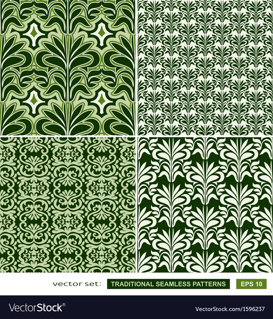 Vintage ornamental green backgrounds set