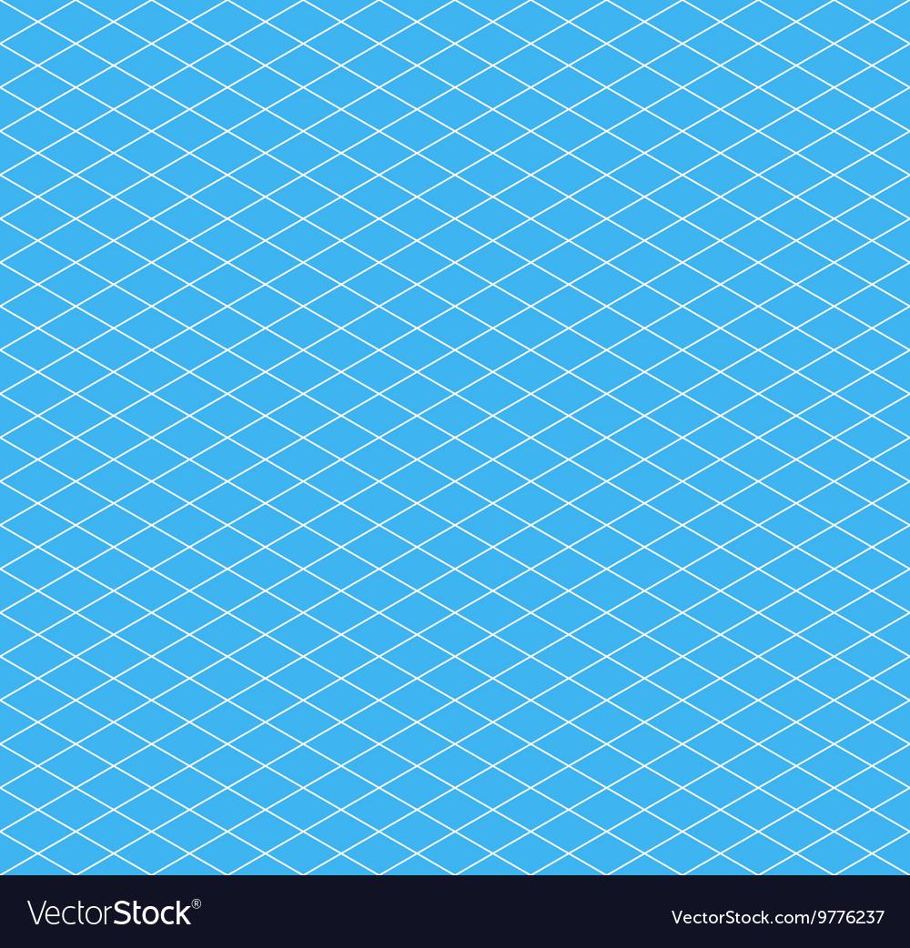 White isometric grid on cyan seamless pattern