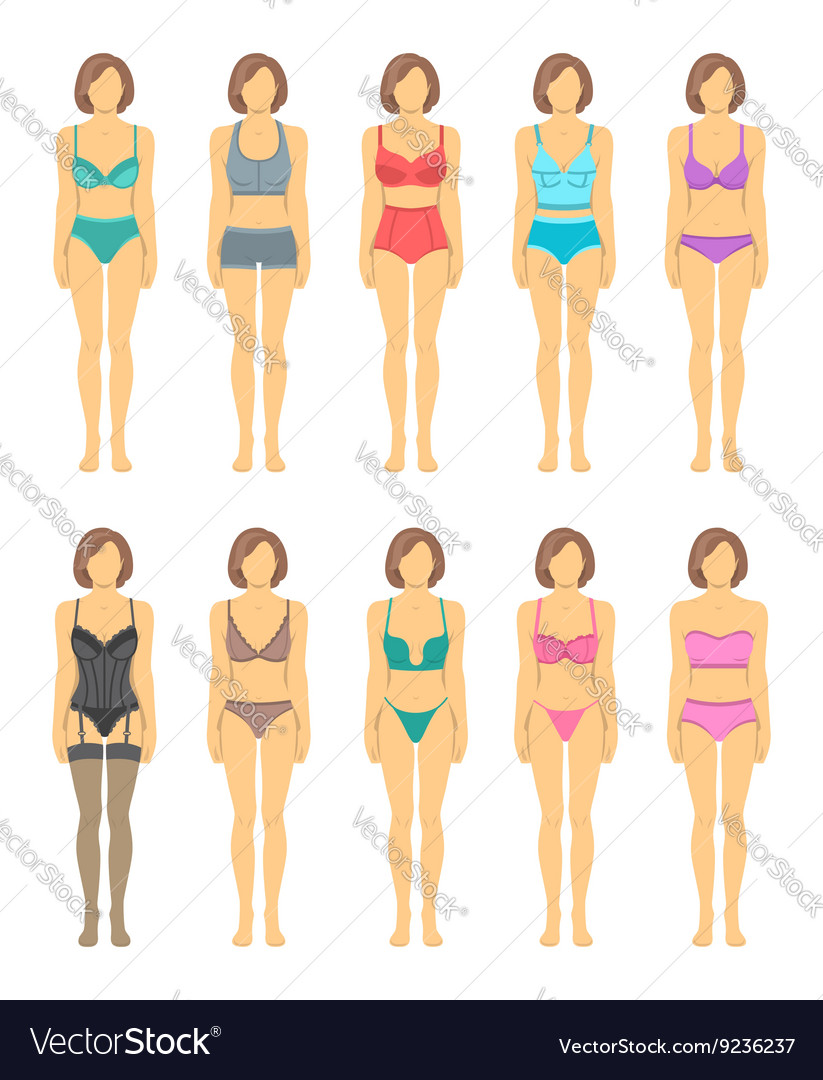 Woman figures in fashionable lingerie flat icons