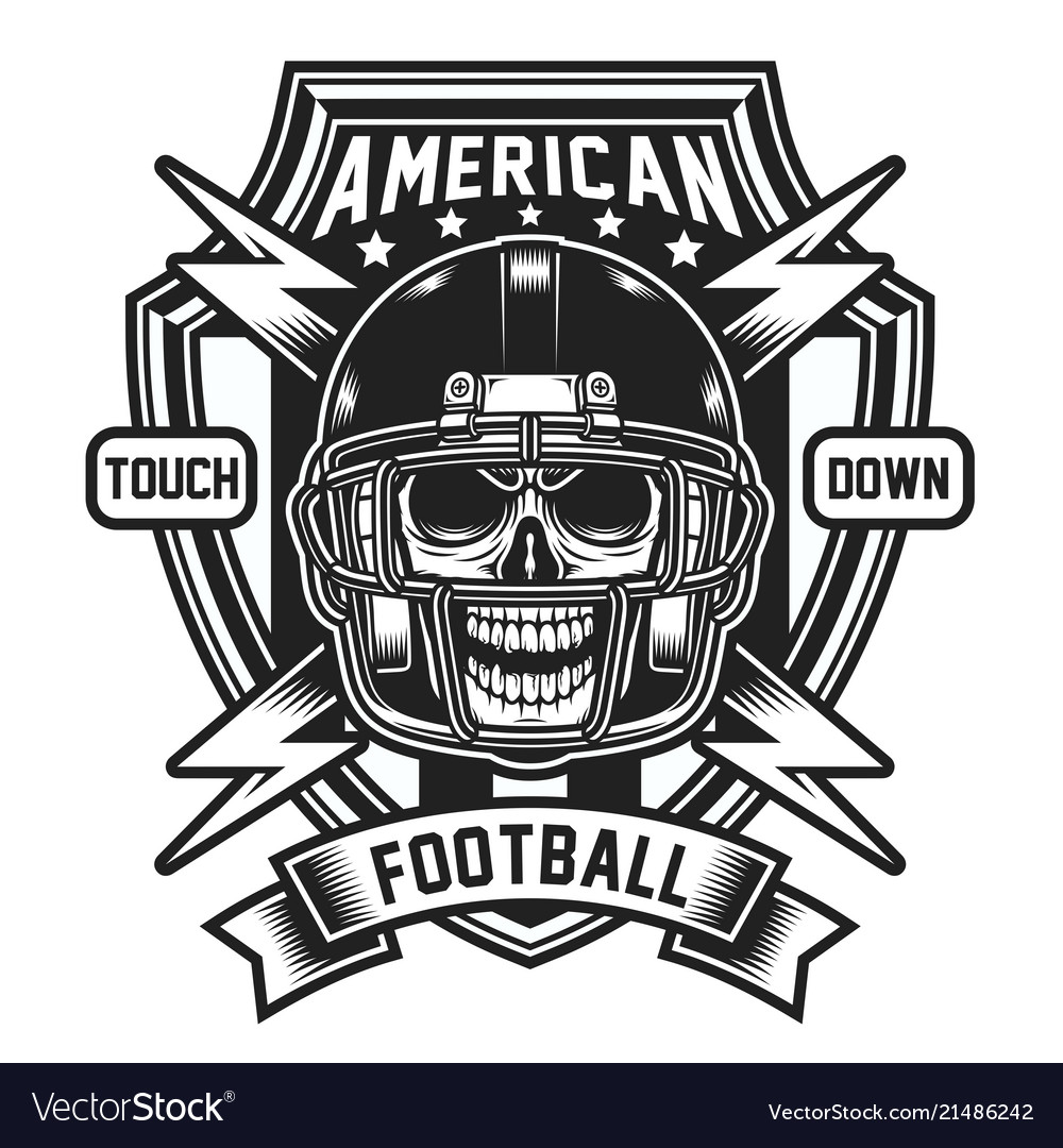 American football skull emblem isolated on white