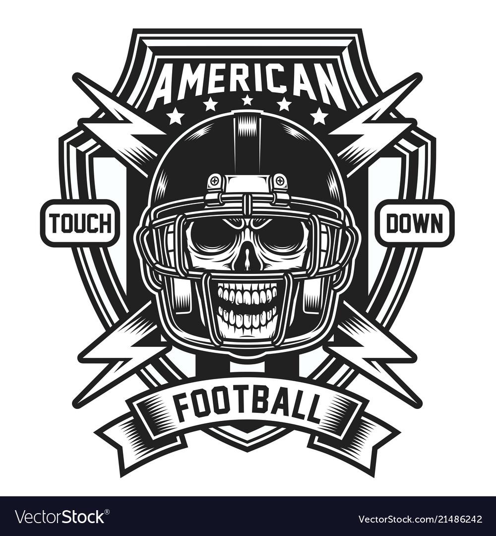 American football skull emblem isolated on white