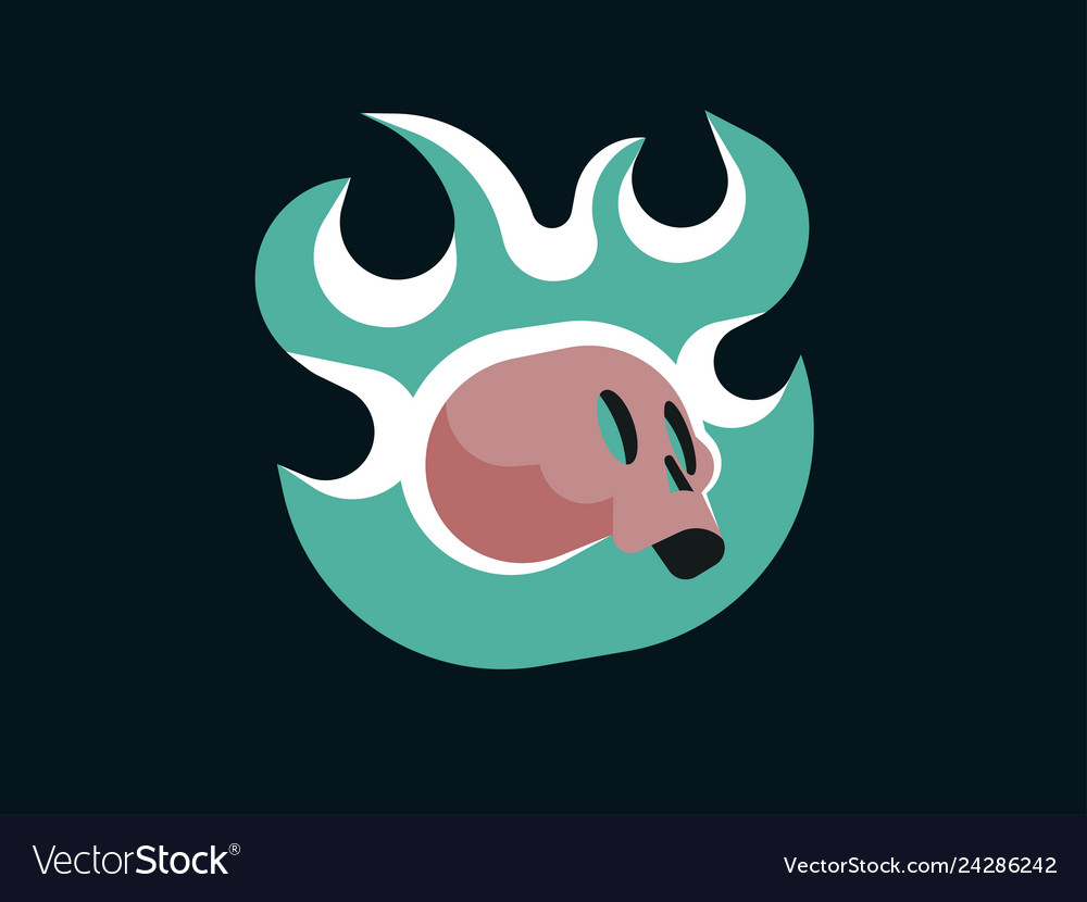 Cartoon skull in green fire