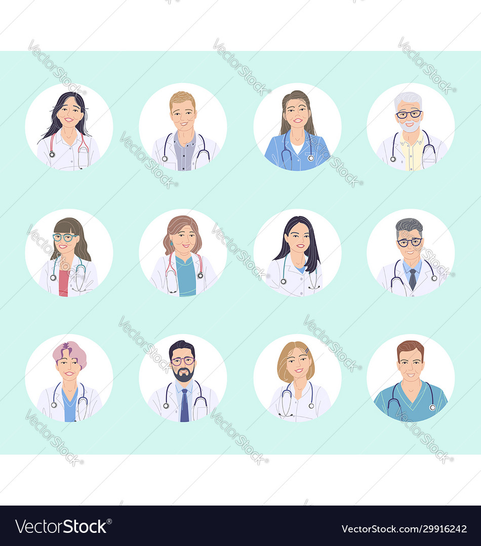 Doctors male and female avatar set