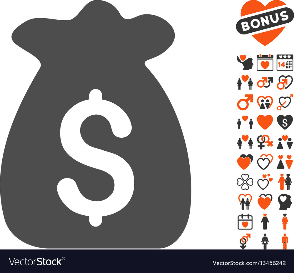 Financial capital icon with dating bonus vector image
