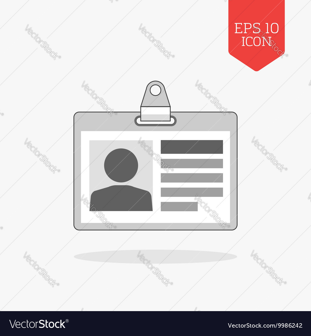 Identification card icon Flat design gray color vector image