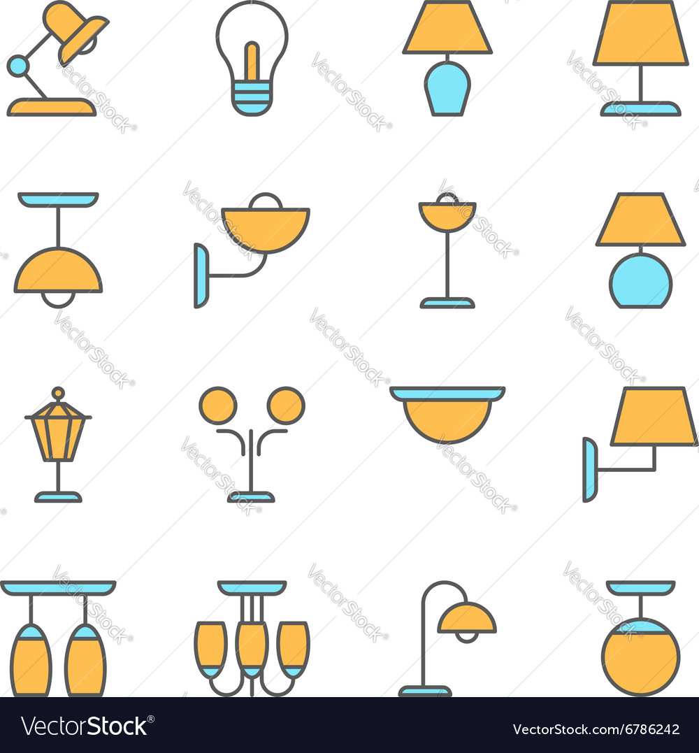 Lamp icons thin line style flat design