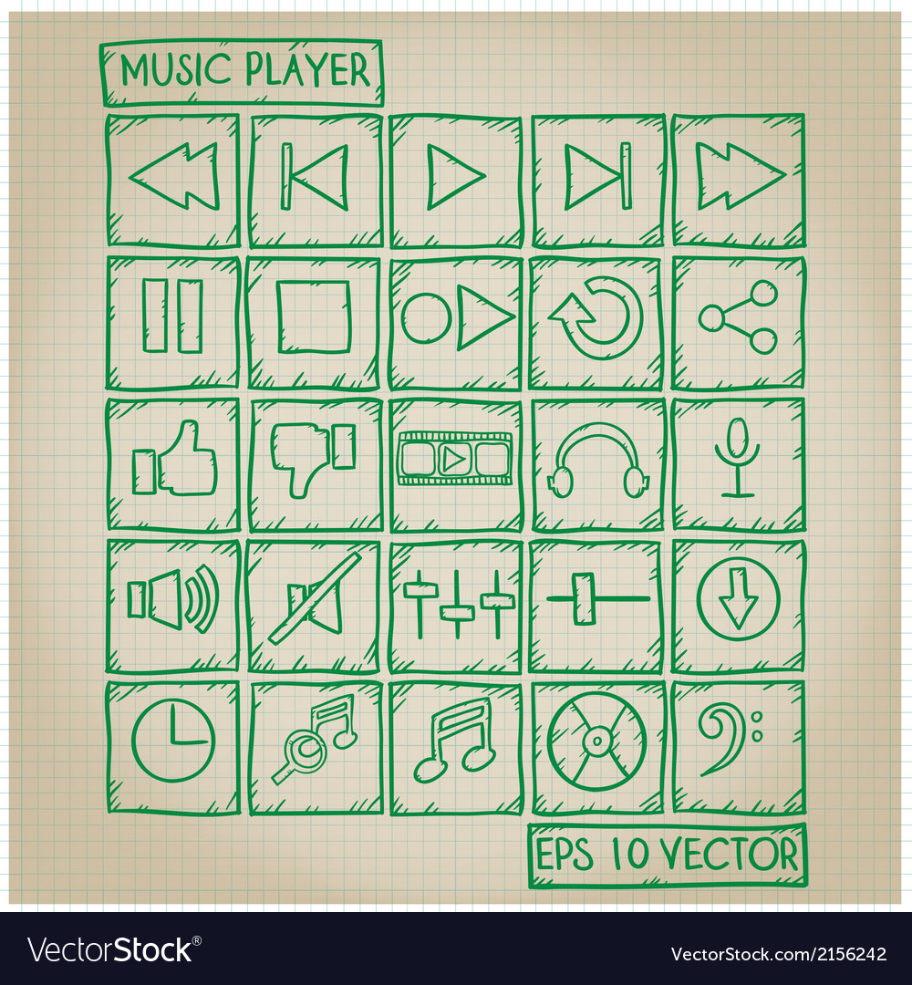 Music Player Icon Doodle Set vector image
