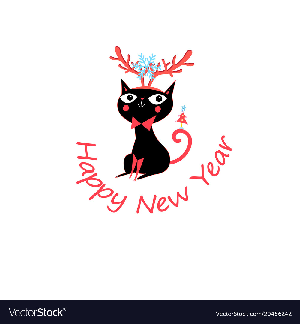 New year greeting card with funny cat Royalty Free Vector