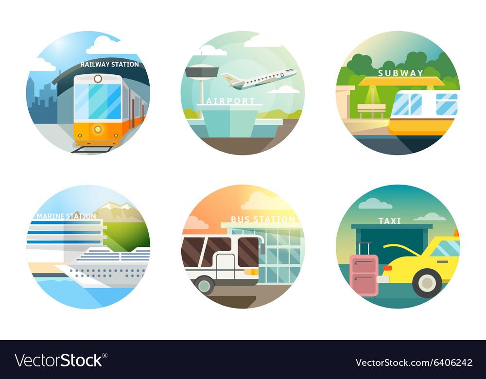 Transport stations flat icons set