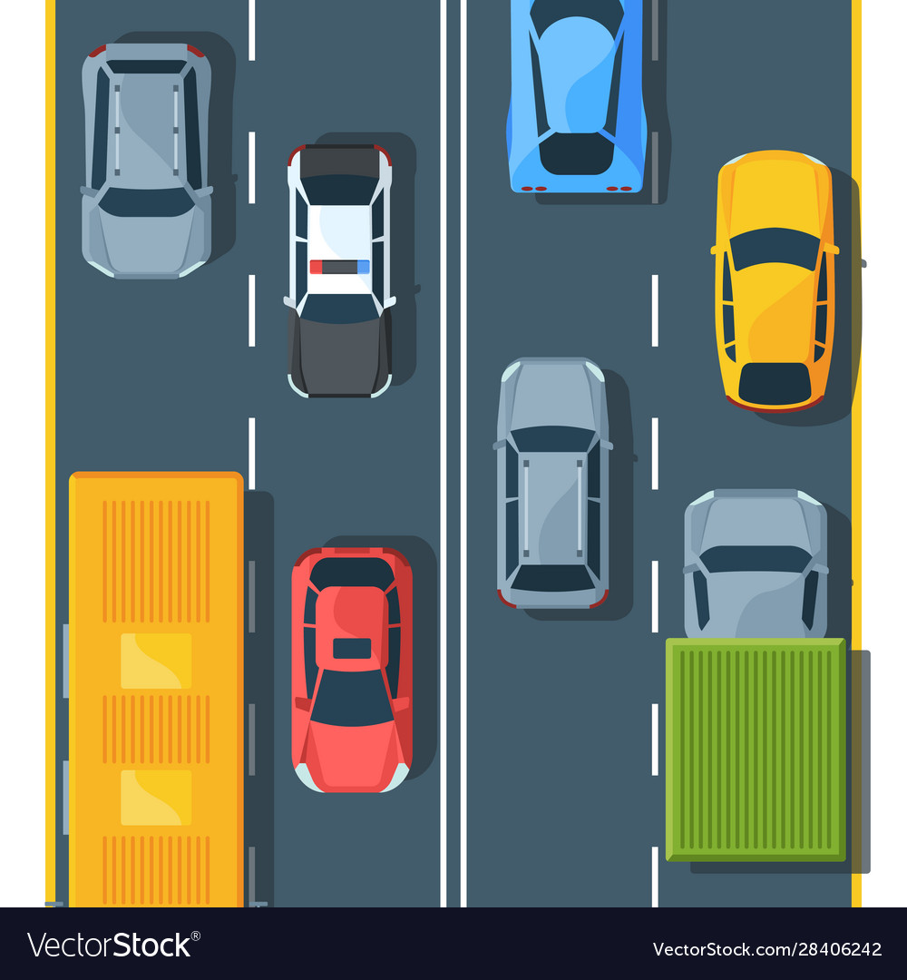 Urban traffic on highway top view flat