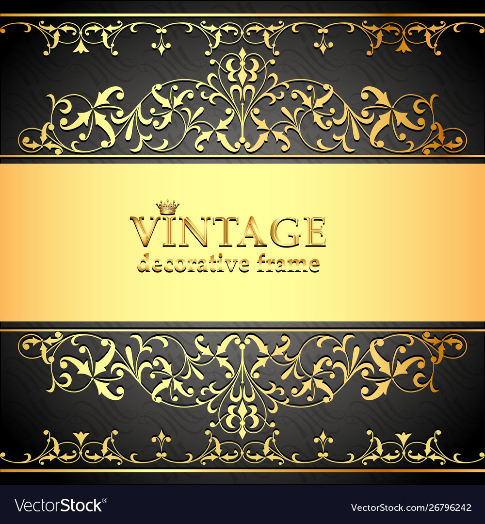 Vintage background frame with gold ornaments