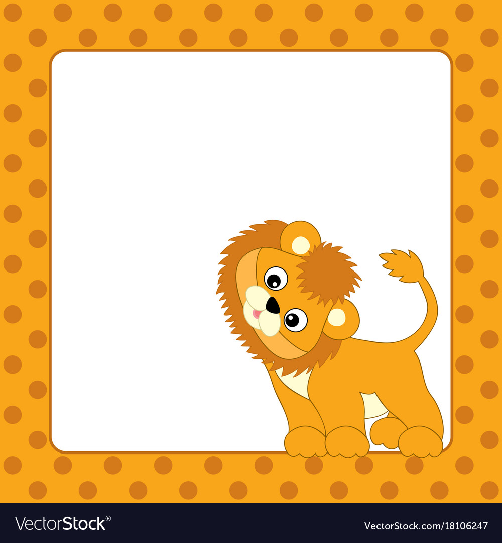card template with lion cub royalty free vector image