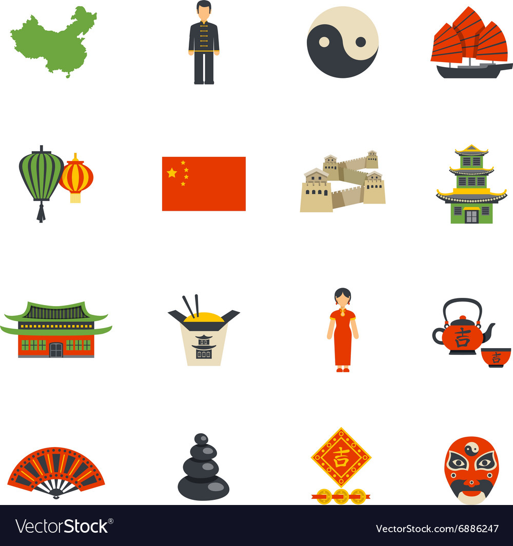 Chinese Culture Symbols Flat Icons Set Royalty Free Vector