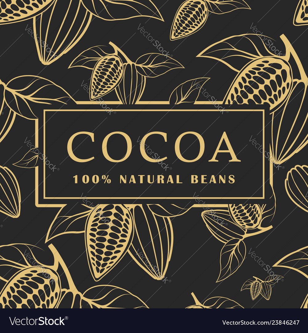 Cocoa beans with leaves on dark background
