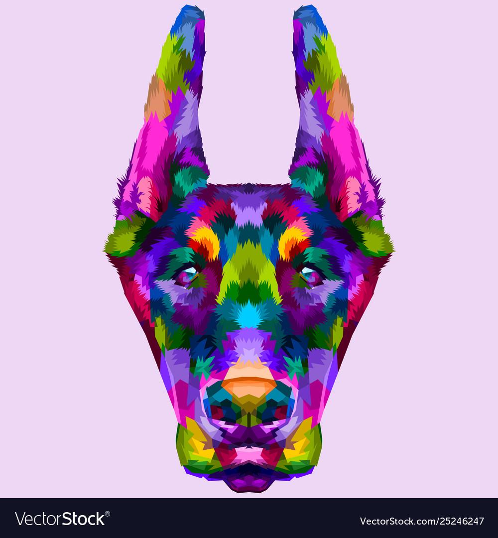 Colorful doberman head