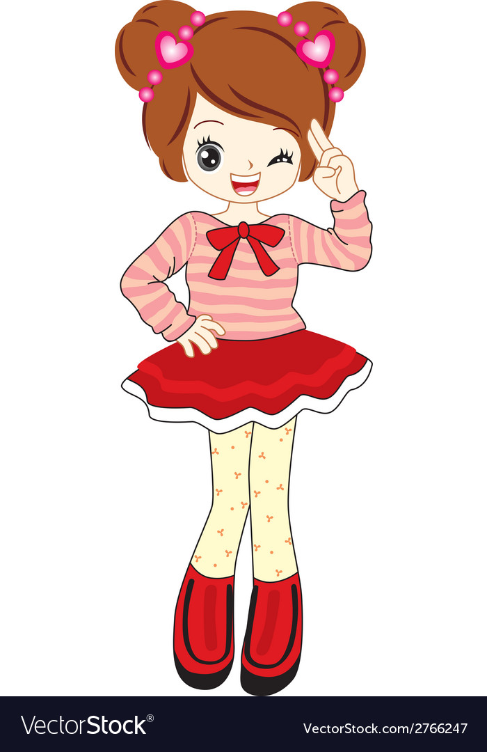 Cute Little Girl Anime With Red Sweater Royalty Free Vector