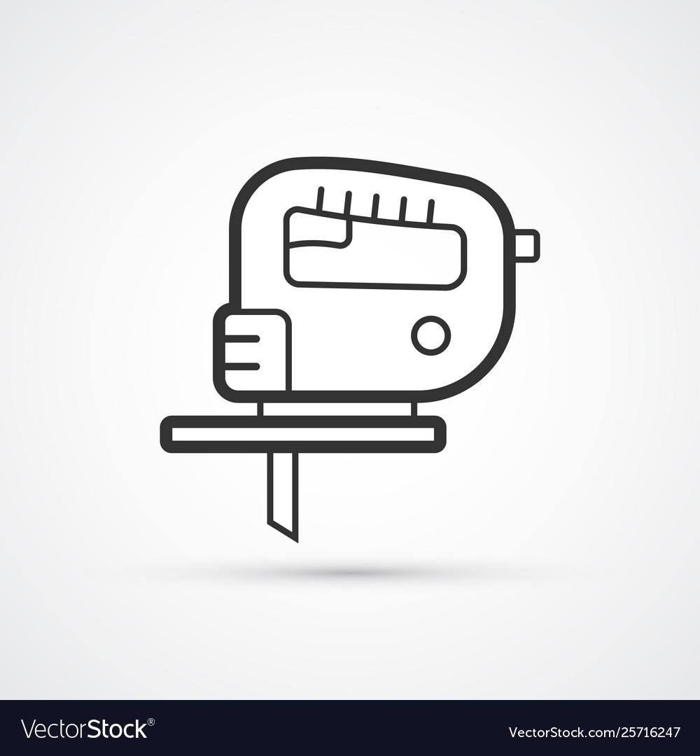 Electric jigsaw flat line hand tool icon eps10