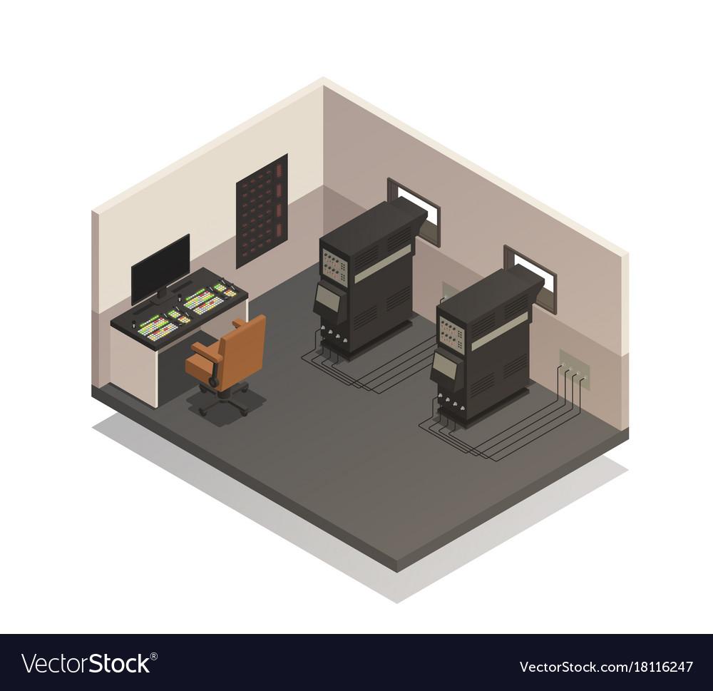Empty cinema projectionist room vector image