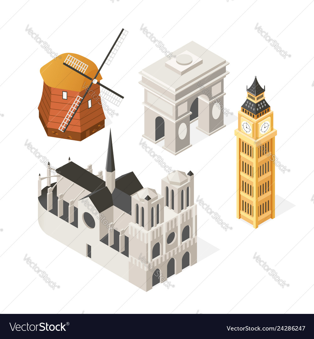 European landmarks - colorful isometric set of