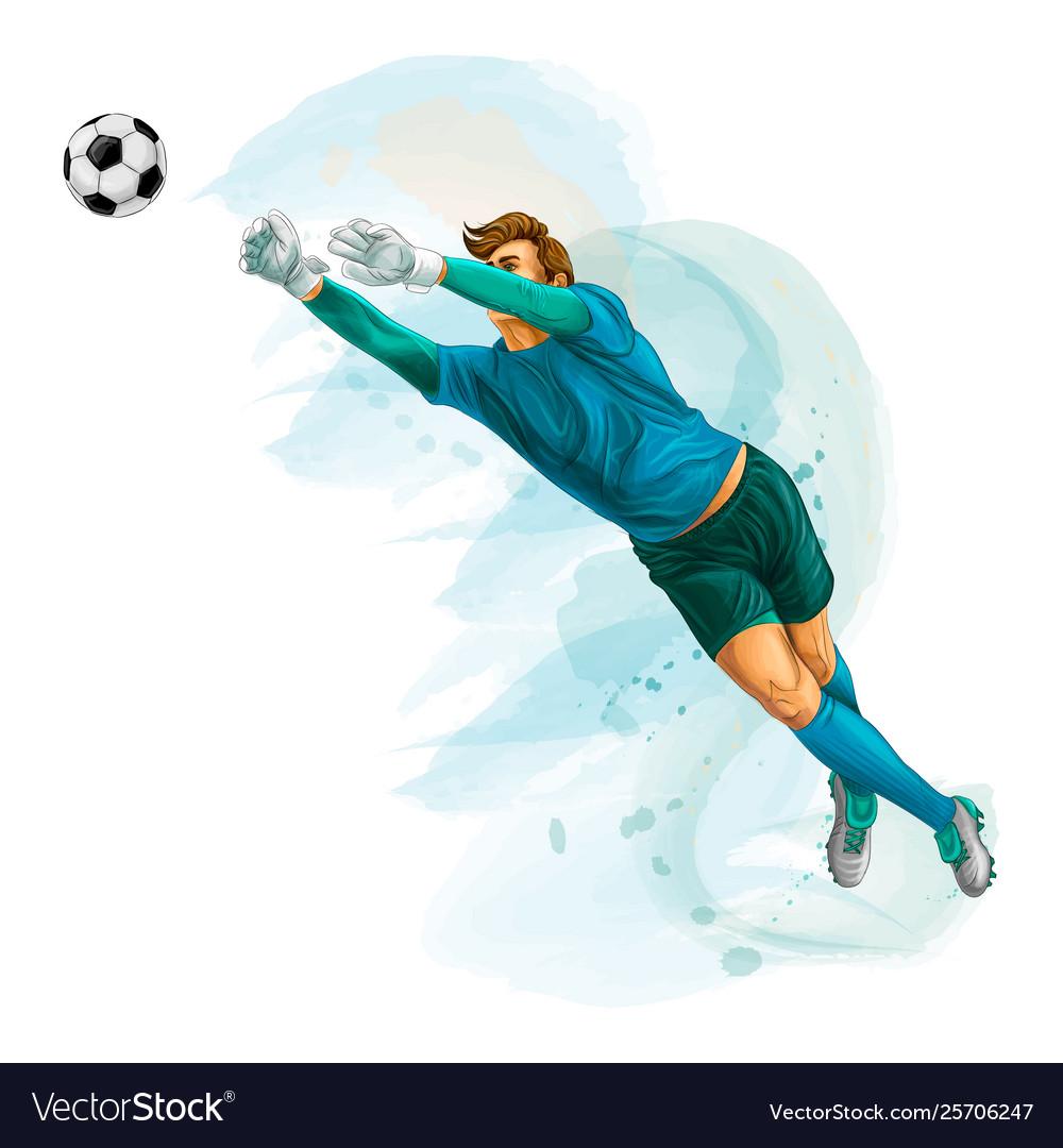 Football goalkeeper jumps for ball splash of