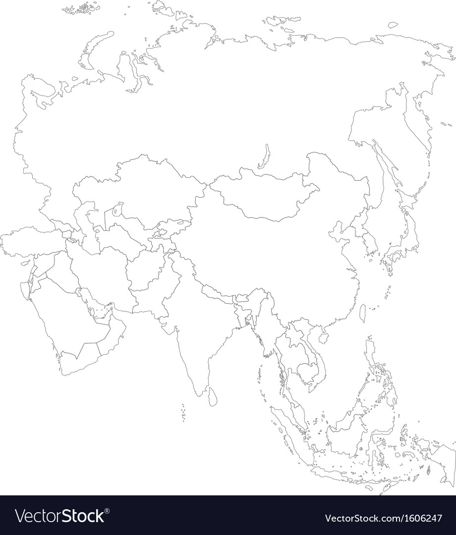 Outline Asia map Royalty Free Vector Image - VectorStock
