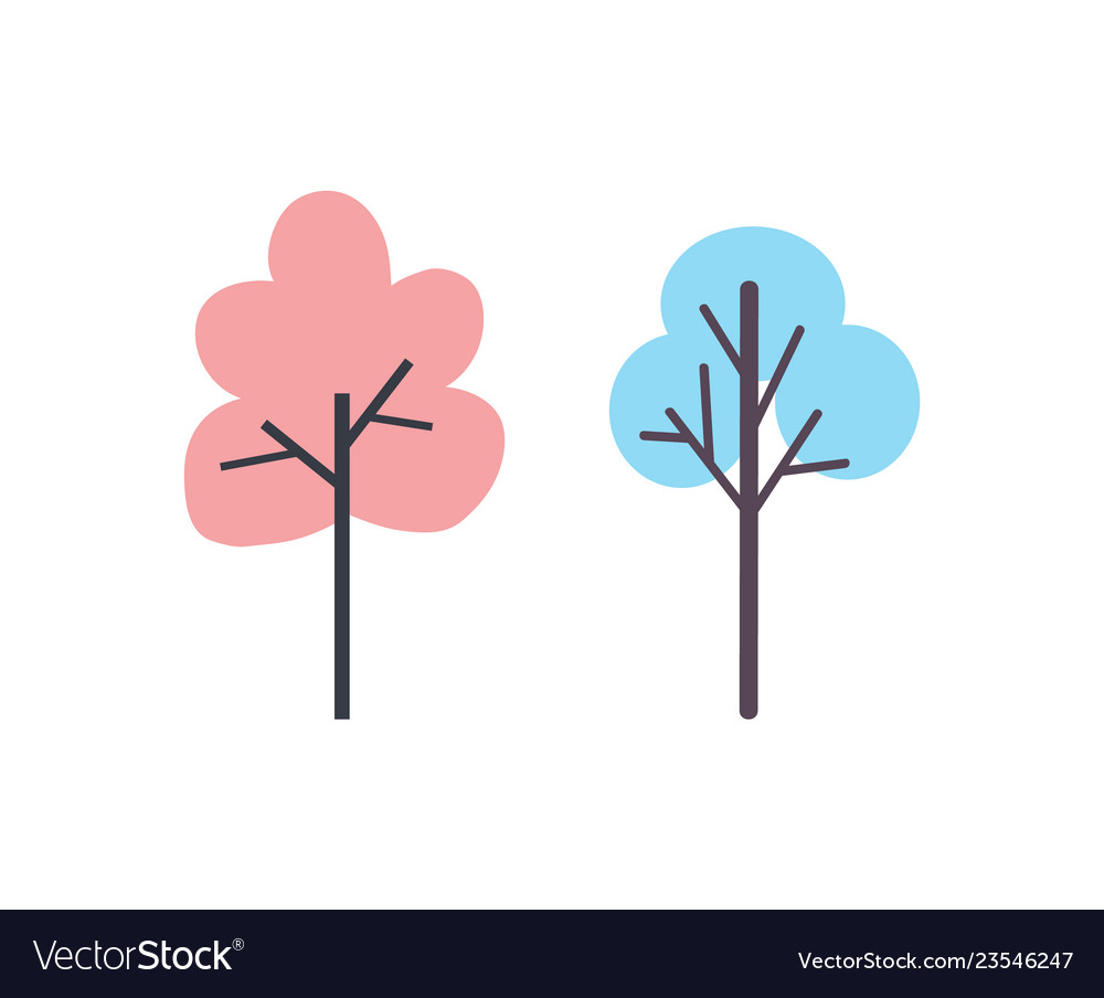 Pink and blue tree icons silhouettes plants