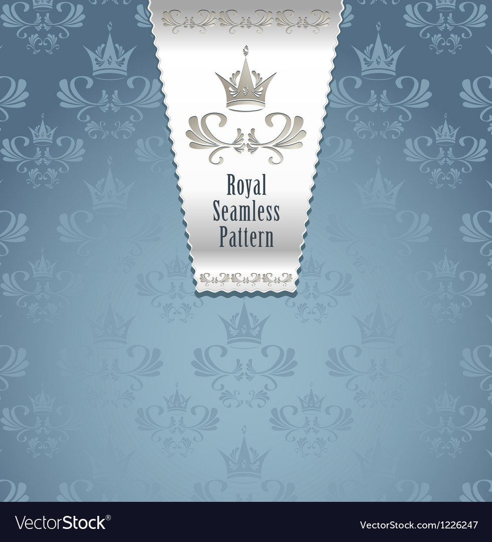 Royal seamless pattern with crown or Royal blue ba vector image