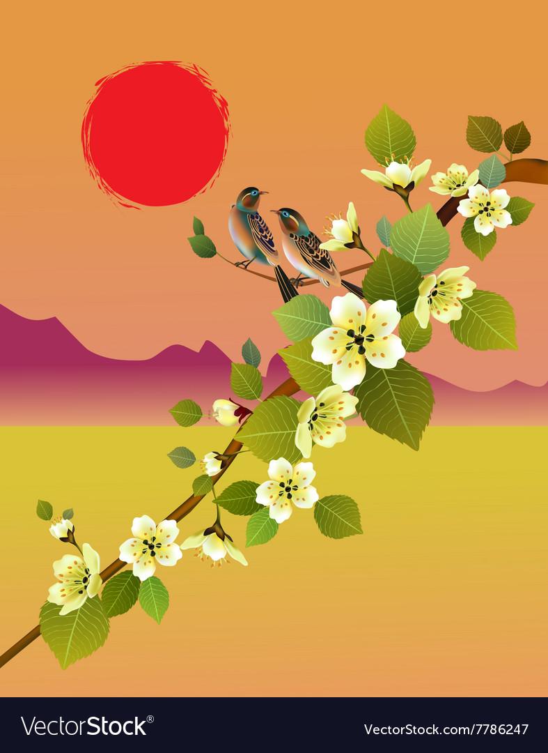 Sakura bird postcard menu