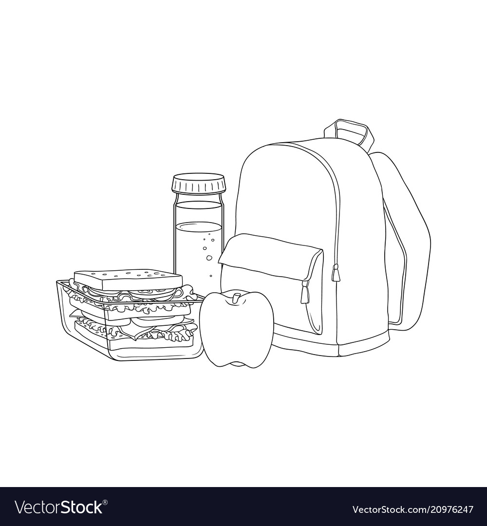 School backpack and food for lunch break isolated