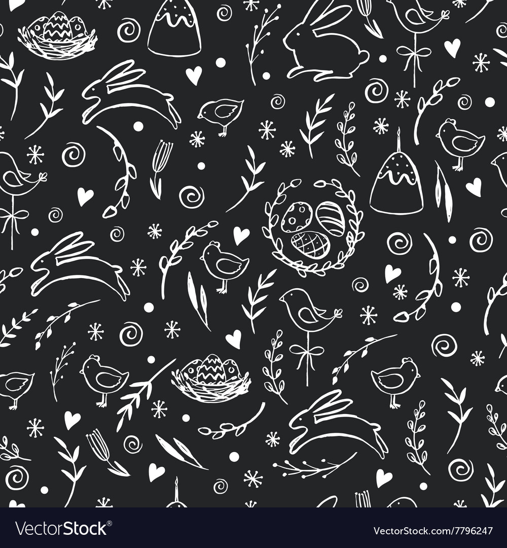 Seamless pattern with hand drawn Easter