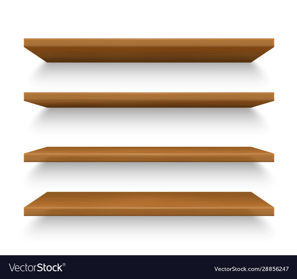 Set isolated realistic wooden shelves on wall