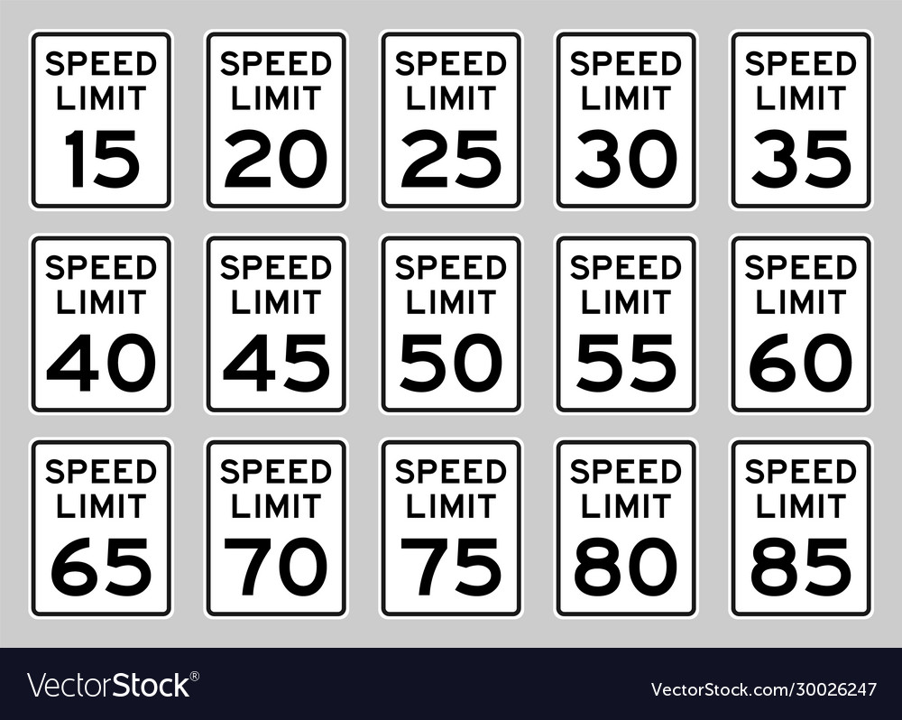 Speed limit road sign set for usa