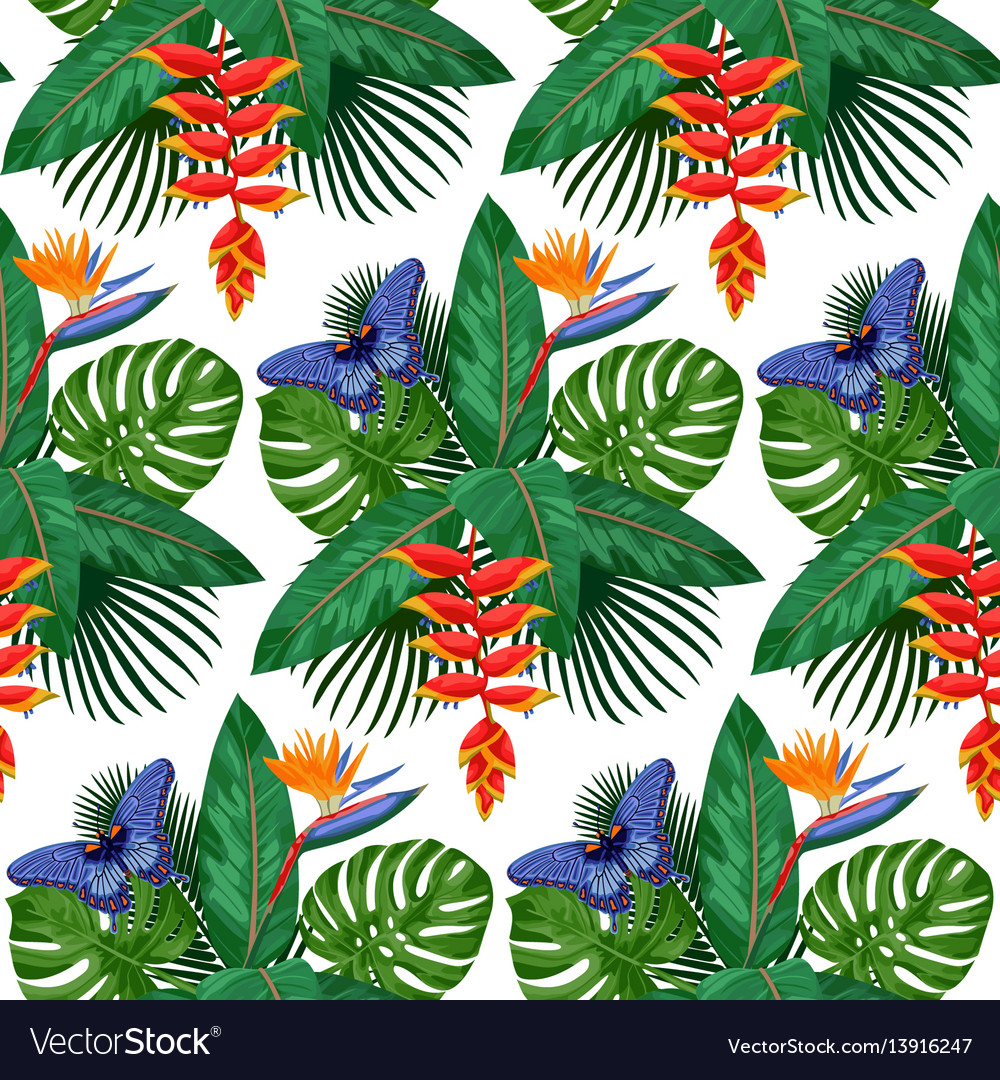 Tropical bouquet seamless pattern