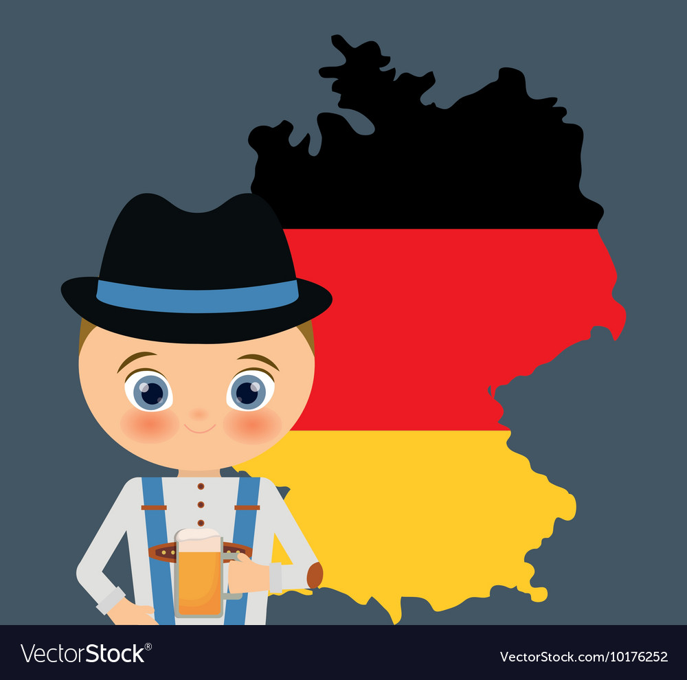 Cartoon Map Of Germany.Beer Boy Cartoon Hat Oktoberfest Map Icon Germany Vector Image