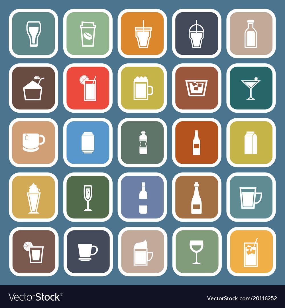 Beverage flat icons on blue background