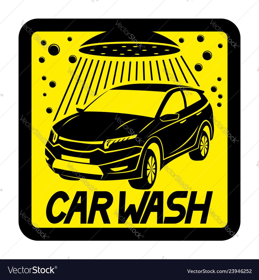 Car Wash Yellow Sign Royalty Free Vector Image