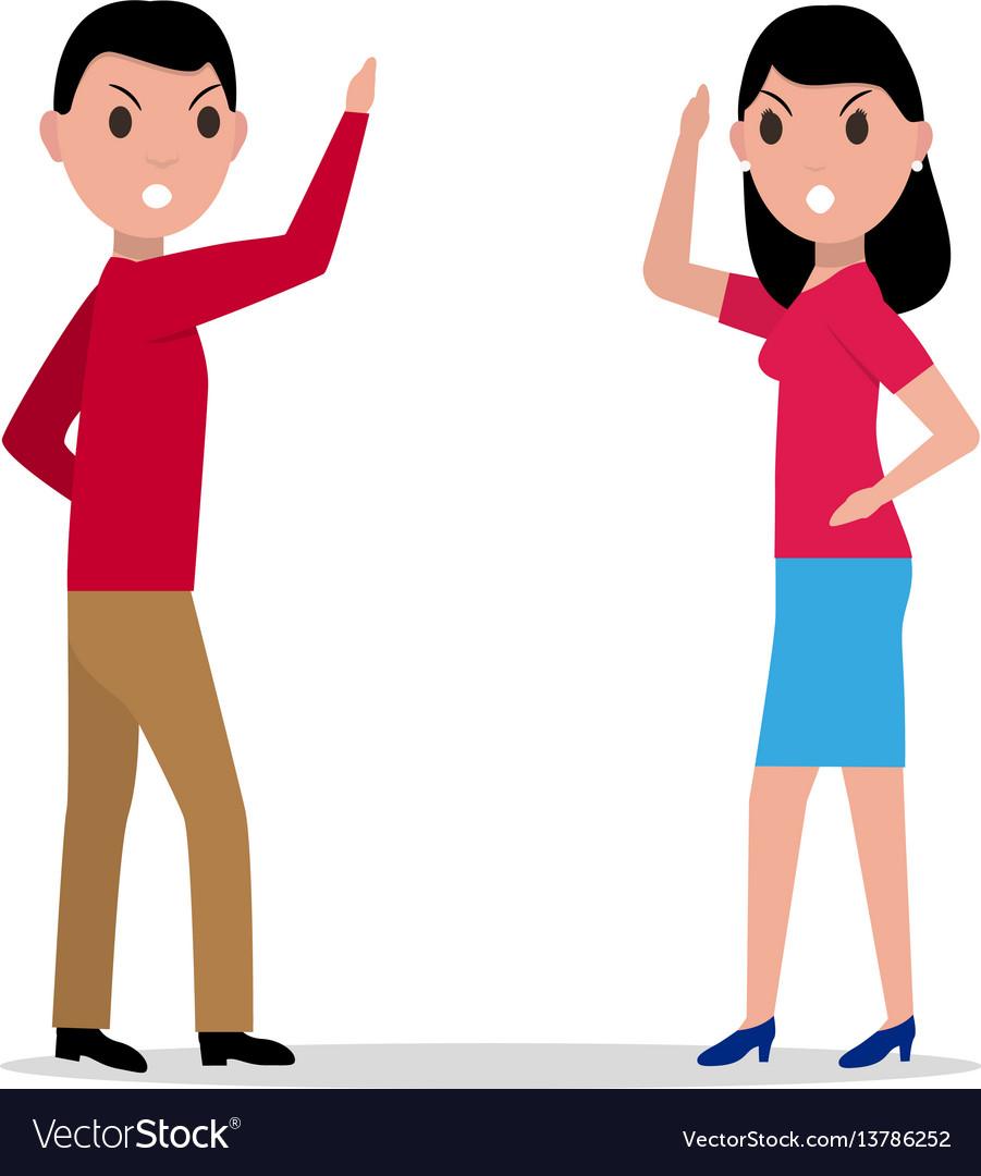 Cartoon man woman quarrel couple angry