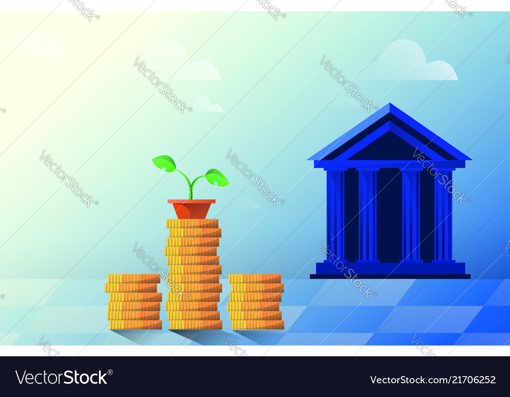 Flat bank building on a white