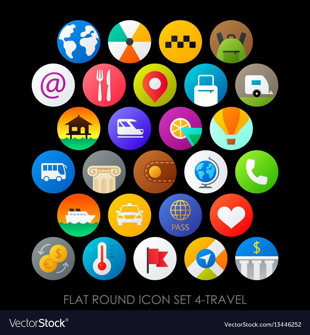 Flat round icon set 4-travel