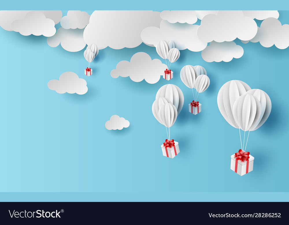 paper cut and craft background with clouds on vector image vectorstock