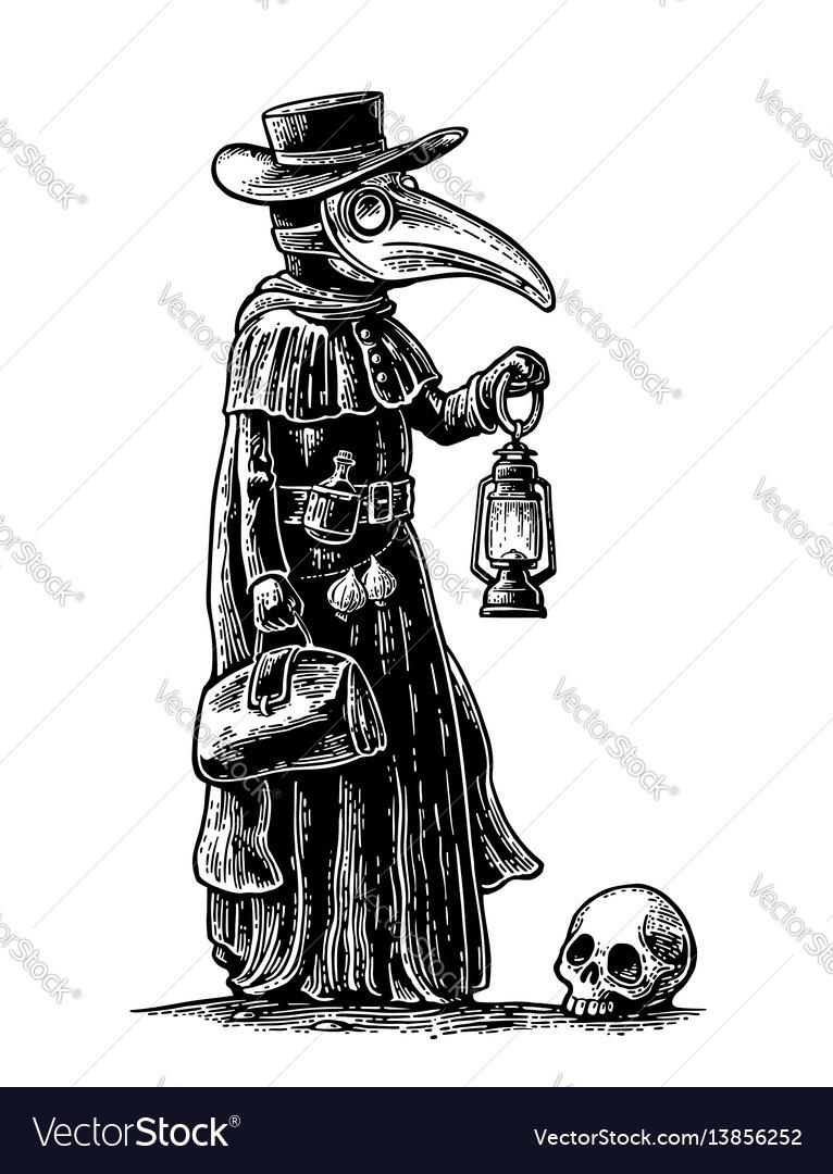 Plague doctor with bird masksuitcase lantern vector image
