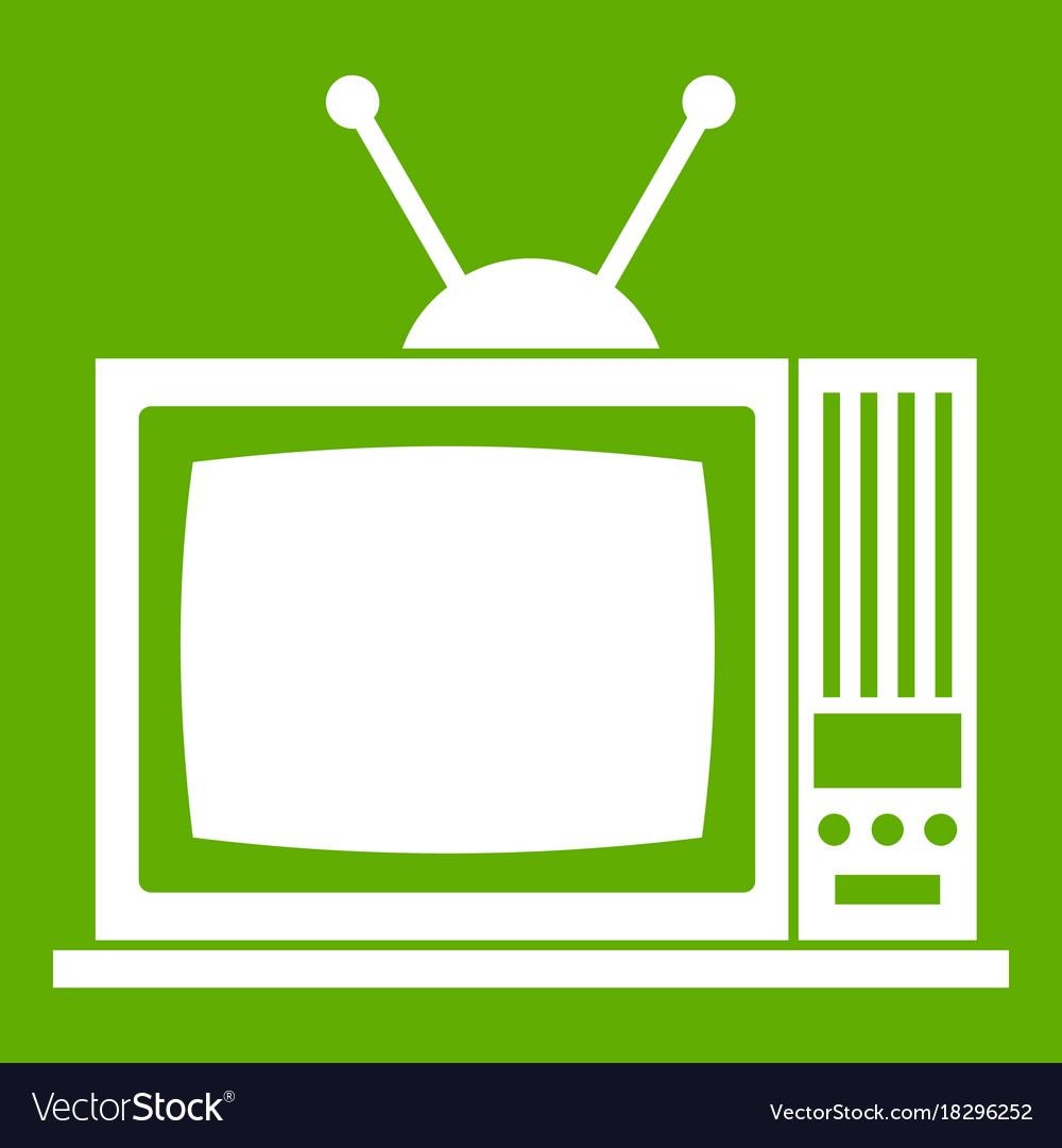 Retro tv icon green