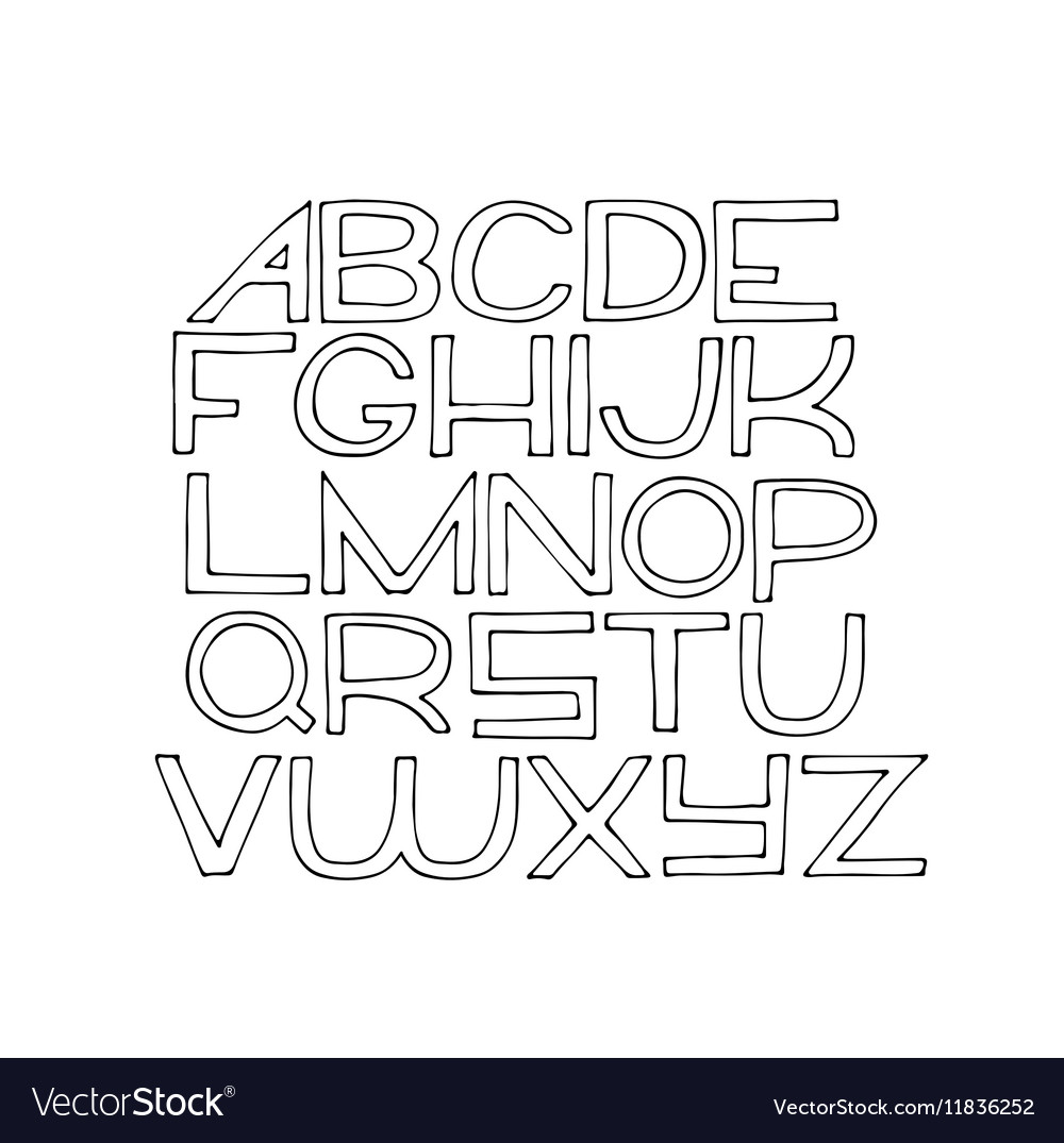 Simple hand drawn alphabet letters from A to Z