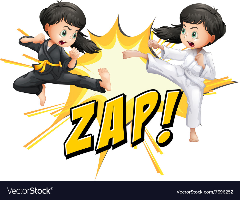 Two Girls Doing Martial Arts Royalty Free Vector Image