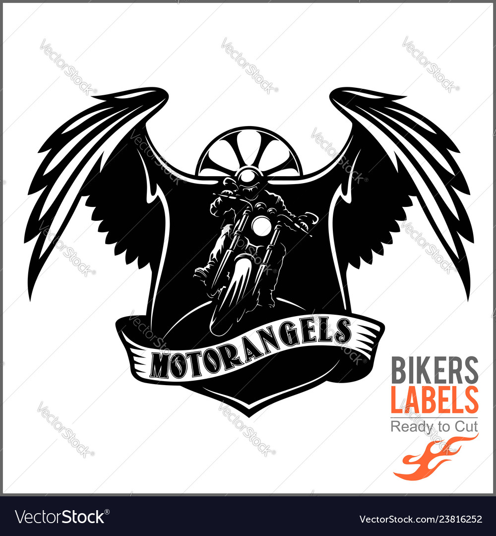 Wings and motorcycle - badge or label with biker