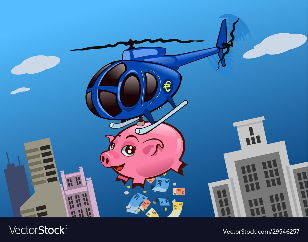An helicopter with a piggy bank throwing money