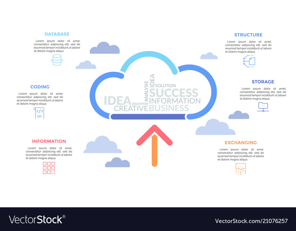 Arrow pointing at cloud drawn by multicolored