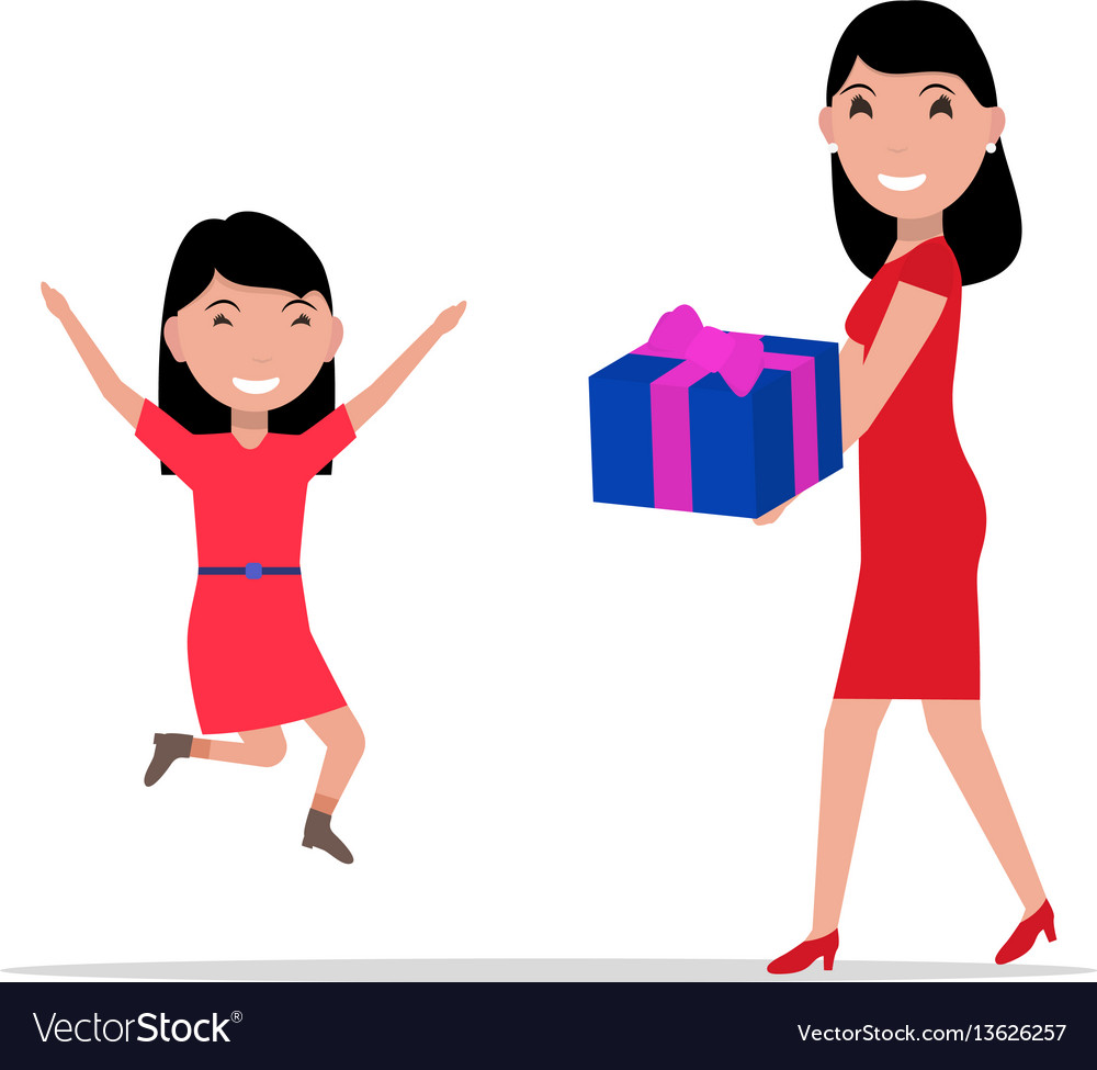 Cartoon mother giving daughter a present
