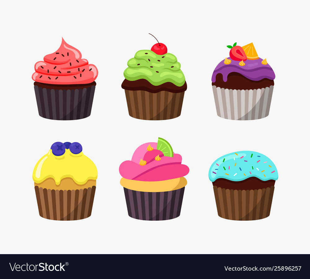 Cupcakes in cartoon flat design isolated on white