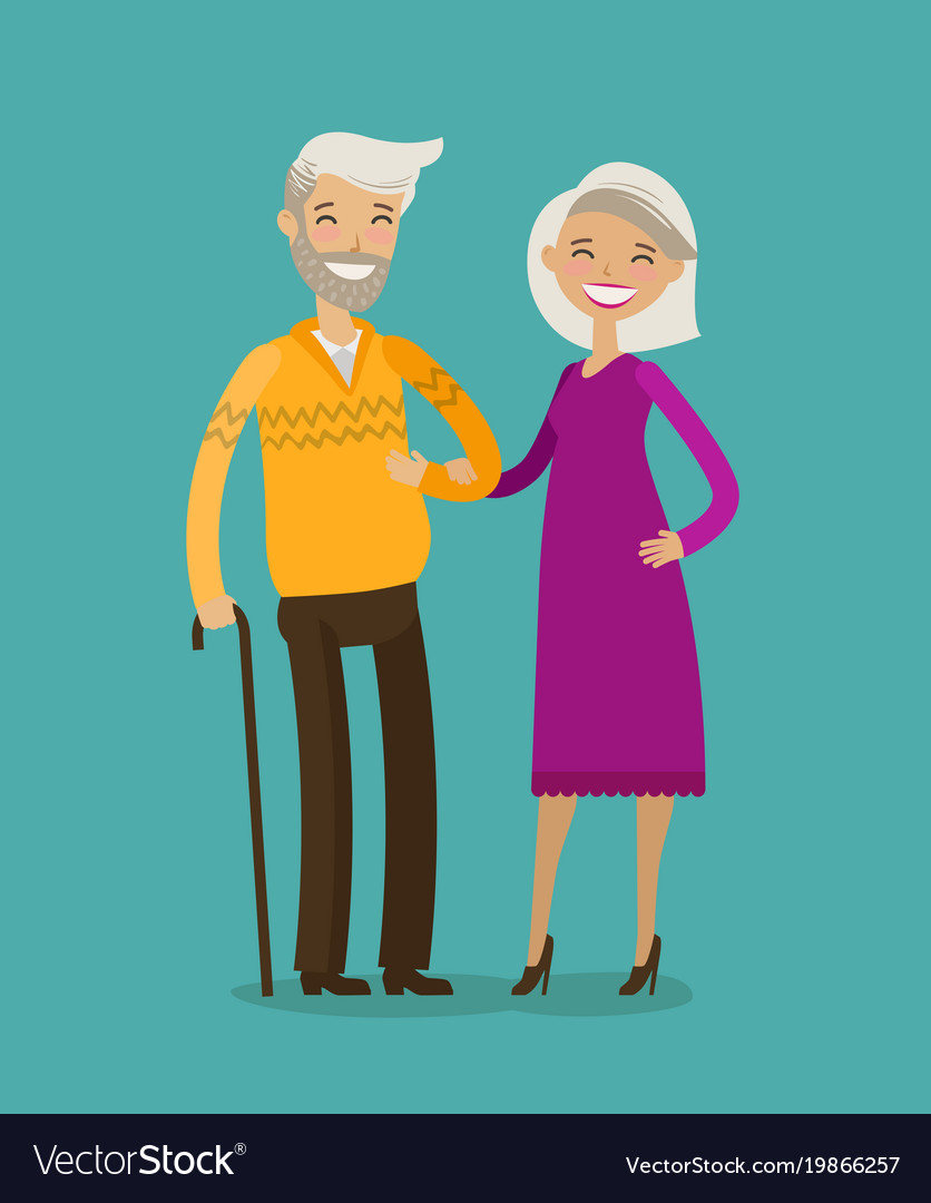 Happy elderly people or retired cartoon